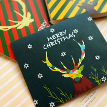 3 pcs/lot Antlers series Merry Christmas Folded with envelope New Year greeting card message card Free shipping