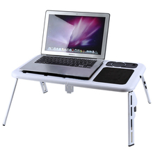 NOCM-Laptop Desk Foldable Table e-Table Bed USB Cooling Fans Stand TV Tray(China)