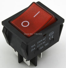 KCD4-201N-3 perforate 30 x 22 mm 30A 4 pin ON - OFF boat rocker switch KCD4 series power switch with 220V light(China)