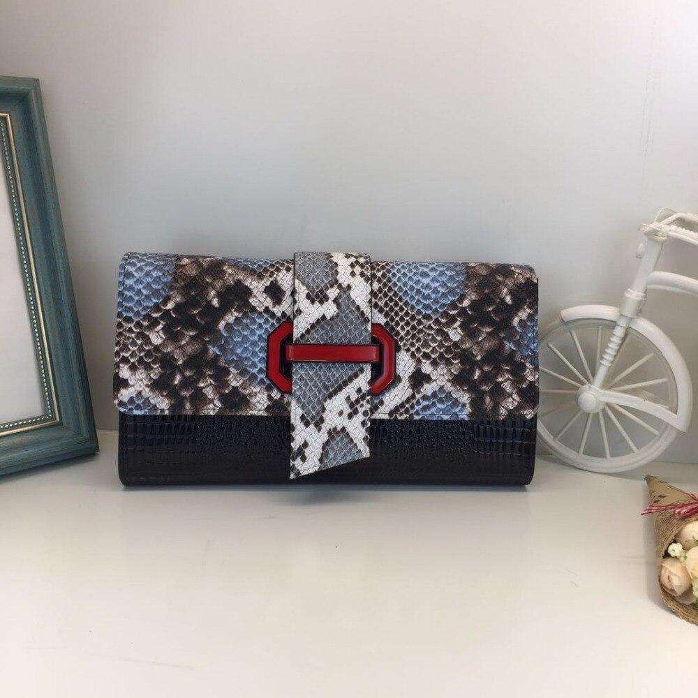 2017 Famous Brand women genuine leather bag female serpentine purse Wristlet Evening Bags Snake Skin Envelope Bag Day Clutch<br>