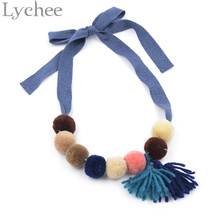 Lychee 1 piece Cute Plush Ball Pendant Kids Necklace Wide Rope Chain Necklace Jewelry for Girl Random Color