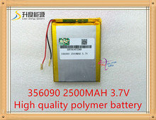 1PCS/Lot 3.7V lithium Tablet polymer battery / 2500mAh / 356090 / IPA / LED / mobile power batteries(China)