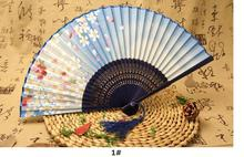 10pcs Ms silk folding fan Japanese plum cherry blossom bamboo fan wholesale wedding party dancing decoration silk female fan