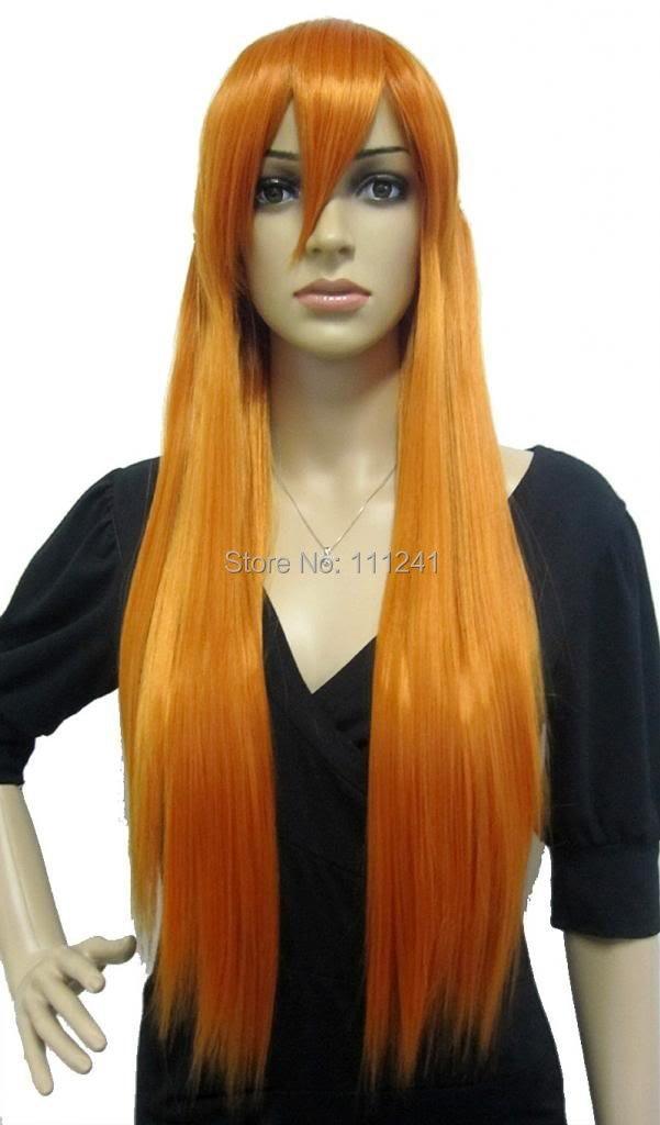 Neon Genesis Evangelion Long Orange Asuka Straight Anime Cosplay Party Wig<br><br>Aliexpress