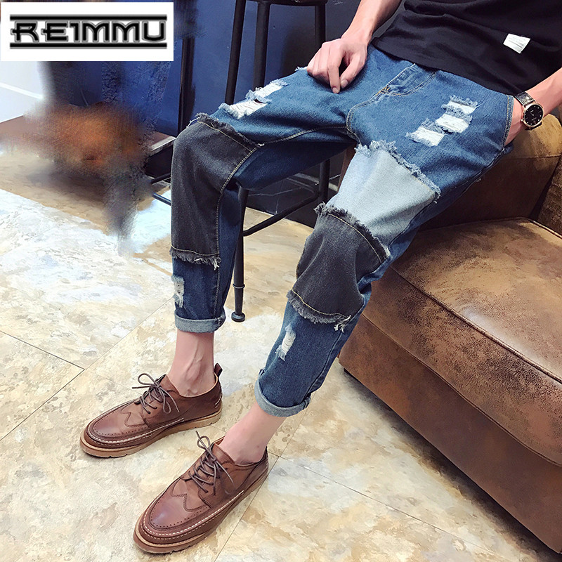 2017 New Arrival Famous Brand Ripped Jeans for Men High Quality Oversized Male Denim Jumpsuit Casual Patchwork Mens Jeans PantsОдежда и ак�е��уары<br><br><br>Aliexpress