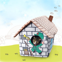 Cute cat dog pet bed house cottage Soft luxury small dog puppy Bed kennel nest indoor winter warm dog puppy house cushion mat