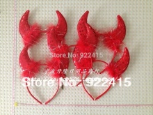 free shipping kids hair accessory  devil horn hair bands halloween props Red yellow party  horn headband