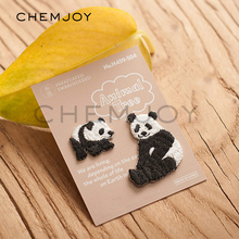 Set of 2 Panda Embroidered Patches for Clothes Iron on Sew Appliques for Shirts Jackets Jeans Bags Shoes Sticker Badges Patch(China)