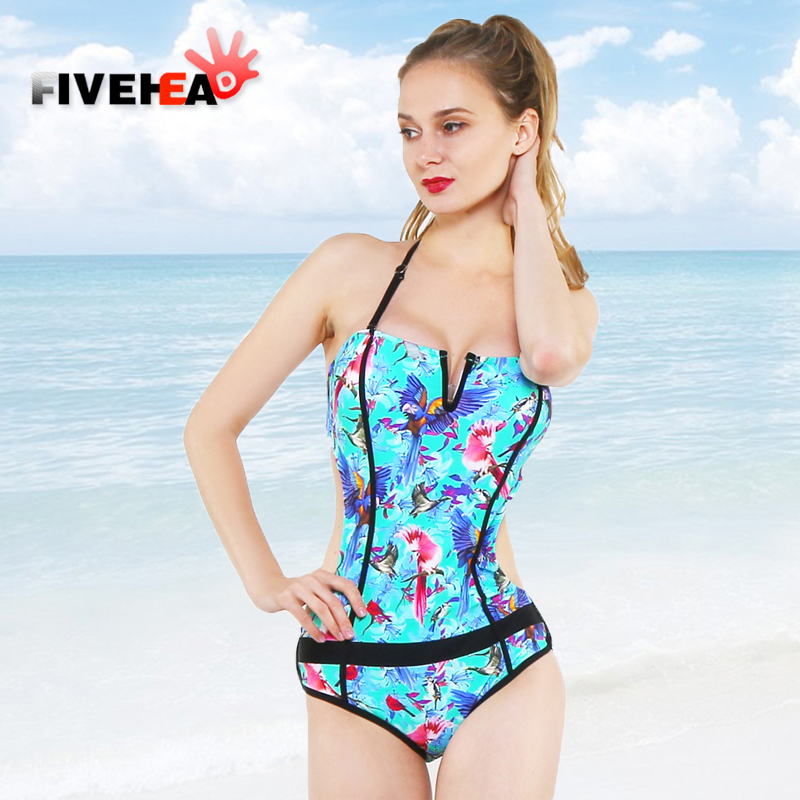 one-piece women swimwear sexy sling halter printed flower printed large size bathing swimsuit push up female deep v back lace<br>