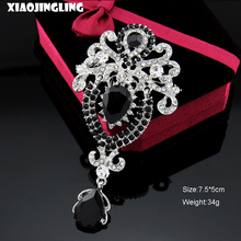 XIAOJINGLING Vintage Elegant Black Crystal Rhinestones Brooches Bride Wedding Costume Brooches For Women Party Jewelry Brooches