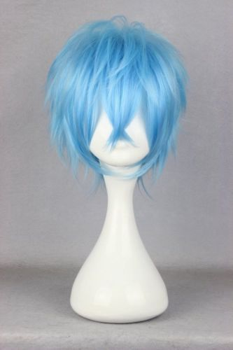 New Fashion Mens Synthetic Hair Wigs 30cm Short Blue Straight Wig Anime Party Male Cosplay Full Wig+Free hairnet<br><br>Aliexpress