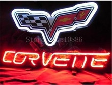 "NEON SIGN For Chevrolet Corvette Sports Car Brand Real GLASS Tube BEER BAR PUB  store display  Shop Light Signs 17*14""(China)"