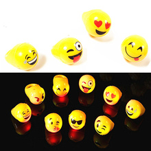 1pc emoji smile face lighting toys children gift 20 styles LED color flash Latex ring Arpa Anyoutdoor role Party Halloween