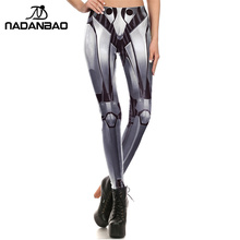 NADANBAO New Women leggings 3D Printed Iron METAL Armour legins Robot leggins pant legging for Woman 2017 cool legins(China)