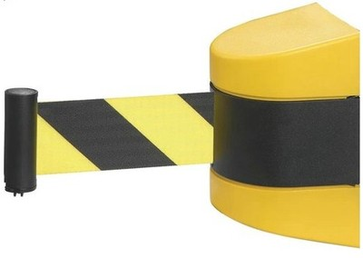 Max 10m belt length wall mounted retractable belt barrier with yellow / black striped caution belt for separated region<br><br>Aliexpress