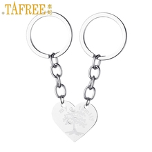 TAFREE My Family Life Of Tree Half Two Parts One Pair Keychain Stainless Steel Heart Charms Keyring Key Chains Jewelry SS72(China)