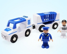 Police car Scene toy combination Compatible Thomas wood track with 2 Figures