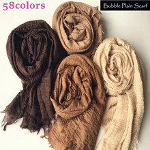 Women Maxi solid scarf bubble plain muslim hijab scarves pashmina foulard shawls bandana fashion head scarf big shawls and wraps(China)