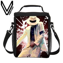 VEEVANV Brand 2017 Michael Jackson Lunch Bags 3D PU Prints Lunch Boxs Children Picnic Lancheira Termica Lunch Boxs PU Cooler Bag