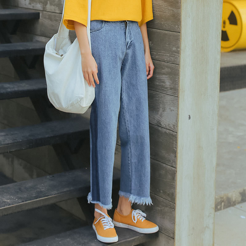 Kesebi 2017 Summer New Female Fringe Ankle-length Bottoms Women Casual Korean Loose Contrast Color Straight Jeans BMA130B#1875Одежда и ак�е��уары<br><br><br>Aliexpress
