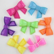 70pcs 2.2'' Sequin Bows Knot Applique Sequin Fabric Hair Bows Hair Accessories,Boutique Hairbows Headwear