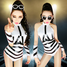 Modern Dance Costume Clothes Stripe Fashion Jazz dance DJ Performance Wear Singer Performance Costumes outfits bodysuits