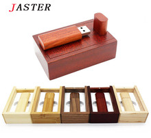 JASTER Wooden usb+gift box usb flash drive memory Stick usb 2.0 wood pen drive pendrive 8gb 16gb 32GB wedding gifts