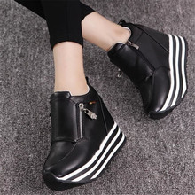 Brand New Women Pumps Sexy Zipper Ladies Girls Casual Comfortable Inner Wedges High Heels Shoes Woman Leisure Platform Pumps