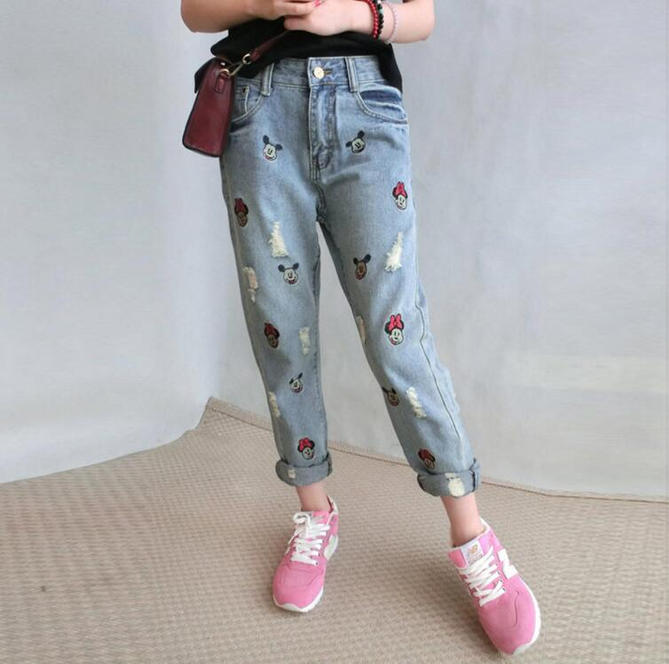 Ripped Jeans Women Pockets Patchwork Low Fashion Mickey Boyfriend Jeans for Women Hole Vintage Girls Denim Pencil Pants Fe320Одежда и ак�е��уары<br><br><br>Aliexpress