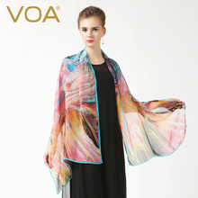 VOA new 2017 silk long scarves fashion black yellow and black paisley fashmina P927