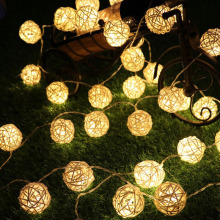 9m 20 Rattan Ball Led string light night warm Christmas Xmas lantern Wedding Garland decor curtain Decoration lights fairy lamps(China)