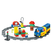 51PCS Original Track Electric Train School Bus Conductor Big Block Brick Set Baby Toys Kids Gift Compatible with Duplo(China)