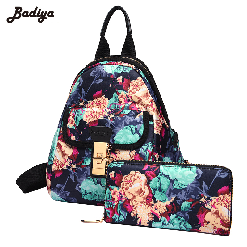 Lovely Floral Print Oxford Backpack for Women Fashion School Bags Teenager Girls Composite Bags Travel Small Pack Bolsa Feminina<br>