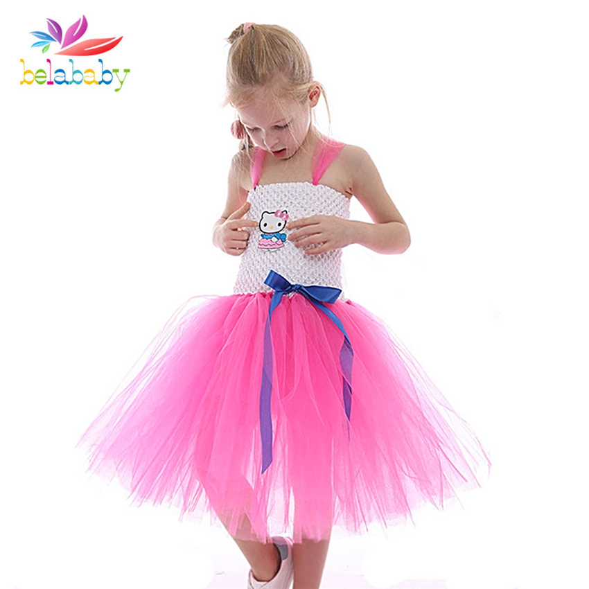 girl hello kitty dress princess tulle dress for girls elegant toddler kids dress up clothes birthday party cinderella costume 6T