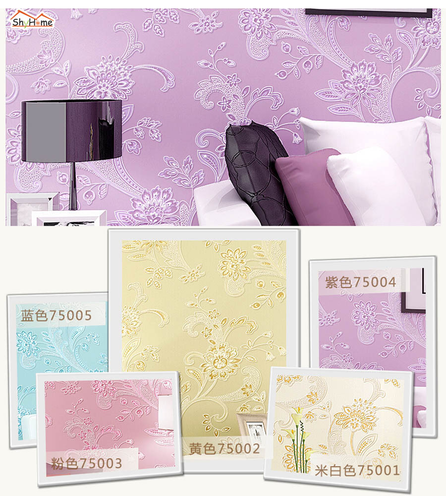 10m 5 Colors Classical Flower Non Woven Damask Mural Rolls for Room Natural Wallpaper for Livingroom Wall 3 d Paper Background<br>