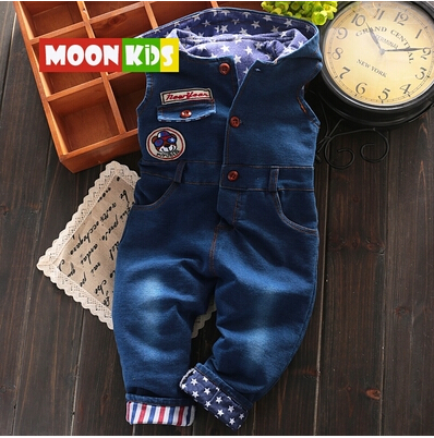 free shipping 2017 spring autumn male female child casual baby bib pants, demin sofe rompers<br><br>Aliexpress