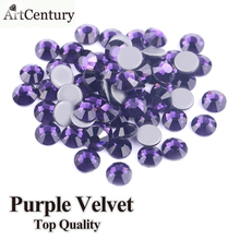 SS6 SS10 SS16 SS20 SS30 AAA Grade Quality Purple velvet Glass Crystals Strass Stones Hotfix Rhinestones For Wedding Dress