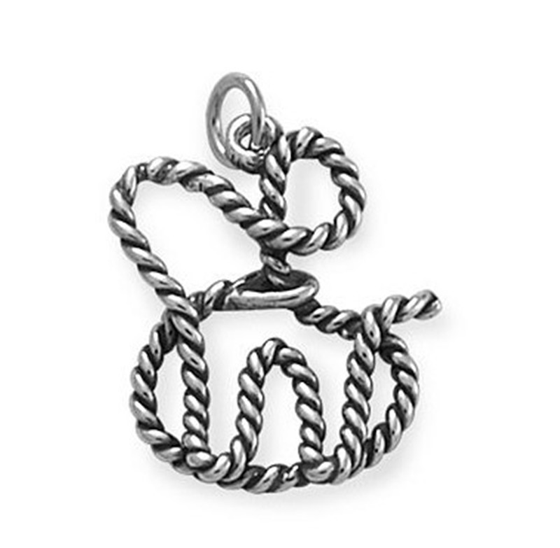 silver plate artfully crafted Trick Rope Charm