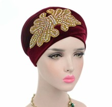 2017 New fashion women gorgeous Embellished Crystal Jewelry Extra Long Velvet Turban Hijab Head Scarf Head Wraps Turbante(China)