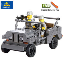 KAZI 82007 Military US Willys Jeep Airborne Force Building Blocks World War Classic Military Vehicle Model Compatible Legoe City(China)