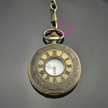 low price good quality retro vintage bronze man father classic men gift roman numbers quartz pocket watch with short waist chain