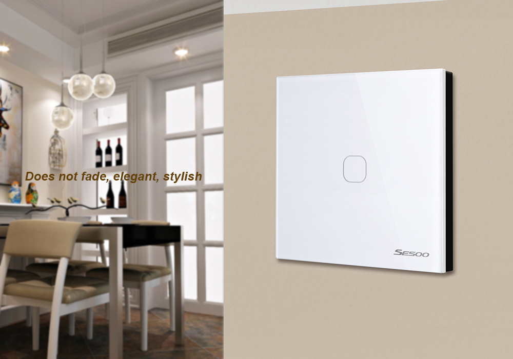 EU/UK Standard SESOO Remote Control Switch1Gang 1Way,AC110~250V wall touch switch,Crystal Glass wifi switch LED Blue Indicator