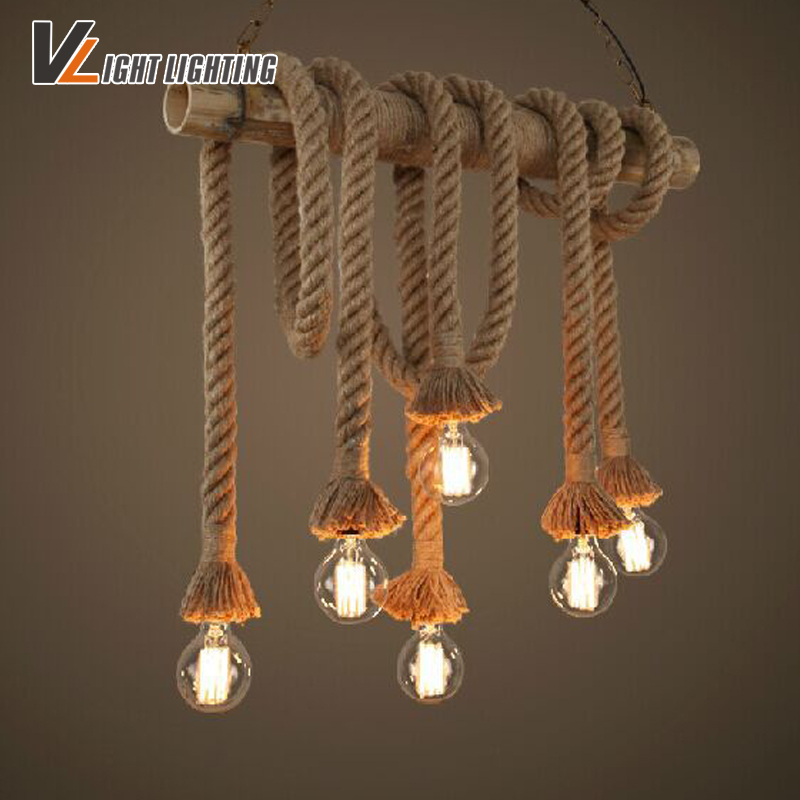 Loft  Double Heads Rope Pendant Lights Retro Vintage Lamp Restaurant bar Diningroom Pendant Lamp Hand Knitted Hemp Rope Light<br><br>Aliexpress