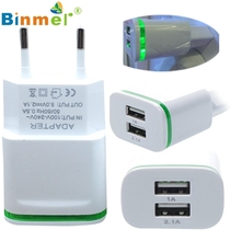 2.0A/1.0A Wall Charger Mini Dual Ports USB LED Light Fast Charging Power Adapter DEC 07