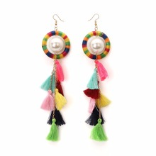 ethnic statement earrings long pendientes flecos 2017 simulated pearl tassel fringe dangle earrings for women kendra jewelry(China)