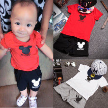 Hot Selling Baby Kids 2pcs Mickey Summer Clothes Sets Boys Girls Short Sleeve T-shirt + Pants Casual Outfits Summer Clothes