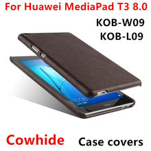 "Case Cowhide Huawei MediaPad T3 8.0"" Protective Shell Smart Cover Genuine Leather Tablet PC huawei t38 kob-w09 l09 Cases"