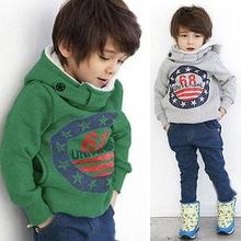 2017 new  hot fashion Green/Gray Baby Boys Grils Kids Coat Tops Hoodies Jacket Sweater Outwear 2-7Y