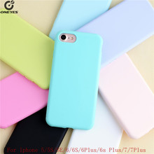 silicone Macaron phone case For iphone 6 6s case 6 Plus 6s Plus 7 plus mobile phone cover For iphone 5 5s SE rubber phone cases(China)
