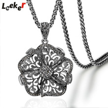 LEEKER Vintage Jewelry Hollow Big Flower Pendant Long Necklace Antique Silver Color Winter Chain For Women 92096 LK1(China)
